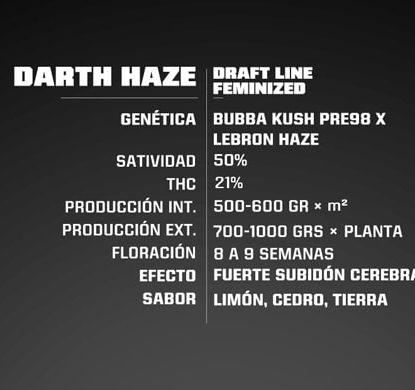 Caratteristiche dei semi di cannabis Darth Haze