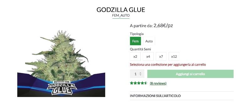 semi autofiorenti di Godzilla glue ad alto thc
