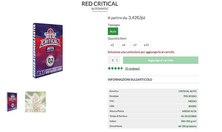 semi di red critical auto ad alto thc